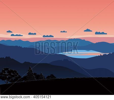 Mountains Valley Red Sky Sunrise Vector Landscape. Abstract Mounts Silhouette Range On Calm Morning