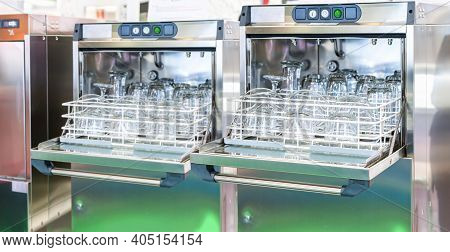 Water Glass Plate And Tea Cup Set Or Tumbler On Basket In Automatic Dishwasher Machine For Kitchen A