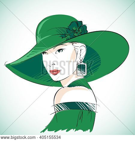 Attractive Sensual Woman Portrait Wearing Green Hat And Earrings Vector Illustration