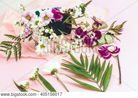 Flower Arrangement In Floristic Foam (oasis) To Preserve Plant Moisture