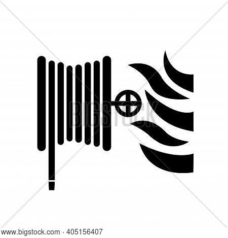 Fire Hose Reel Black Icon, Vector Illustration, Isolate On White Background Label. Eps10