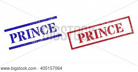 Grunge Prince Rubber Stamps In Red And Blue Colors. Stamps Have Distress Style. Vector Rubber Imitat