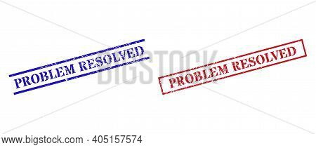 Grunge Problem Resolved Rubber Stamps In Red And Blue Colors. Stamps Have Rubber Texture. Vector Rub