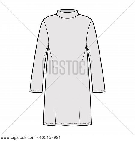 Tunic Sweater Technical Fashion Illustration With Stand-away Collar, Long Sleeves, Oversized, Knee L