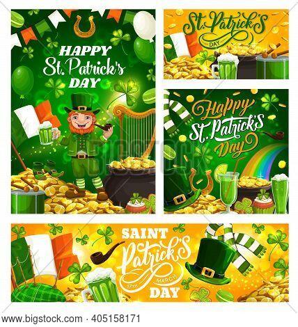Irish Spring Holiday St. Patricks Day, Celebrated On 17 March, Symbols. Vector Harp, Flag Of Ireland