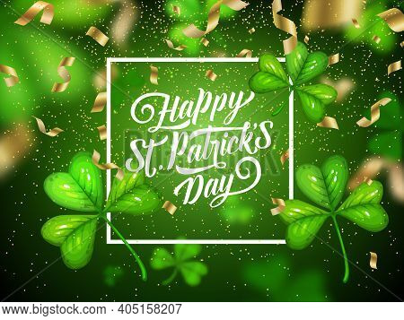 St Patricks Day Clovers With Serpentine, Irish Holiday Vector Greeting Card. Green Shamrock Leaves W