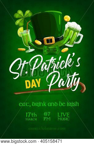 St Patrick Day Party Poster, Vector Green Shamrock Clover Leaf Pattern Background. Irish Traditional