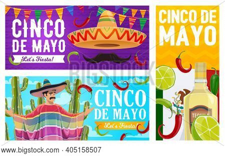 Cinco De Mayo Vector Banners. Mexican Sombrero With Mustaches, National Flag, Tequila With Lime And