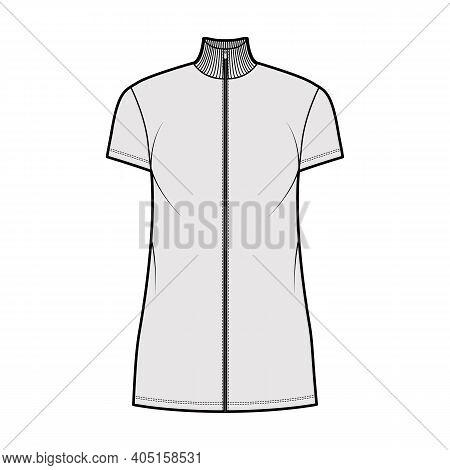 Turtleneck Zip-up Dress Technical Fashion Illustration With Short Sleeves, Mini Length, Oversized Bo