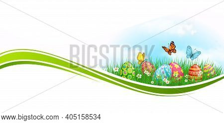 Easter Eggs And Grass, Green Wave Vector Design. Easter Egg Hunt Spring Field, Flowers, Painted Gift