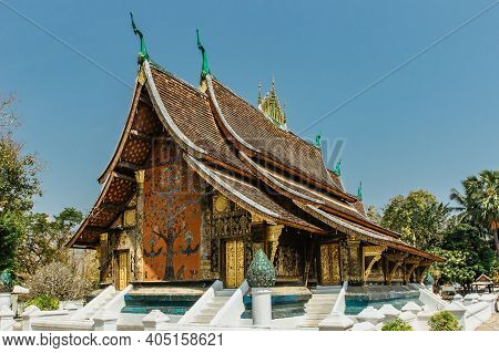 Luang Prabang, Laos-february 26,2020.golden Buddhist Temple Wat Xieng Thong Is Important Lao Monaste