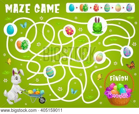 Kids Maze Game Help Easter Rabbit Choose Right Path To Get Eggs. Vector Labyrinth Puzzle, Find Corre