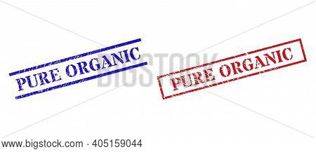 Grunge Pure Organic Seal Stamps In Red And Blue Colors. Stamps Have Distress Style. Vector Rubber Im