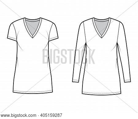 T-shirt Dress Technical Fashion Illustration With V-neck, Long, Short Sleeves, Mini Length, Oversize