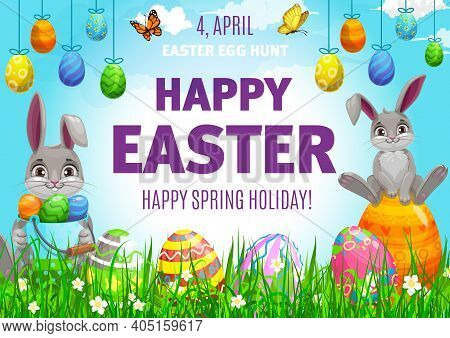 Easter Egg Hunting Vector Poster, Cute Bunnies And Decorated Eggs On Field With Flowers And Butterfl