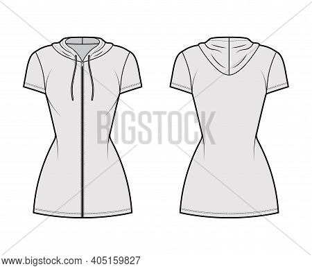 Hoodie Zip-up Dress Technical Fashion Illustration With Short Sleeves, Mini Length, Fitted Body, Pen