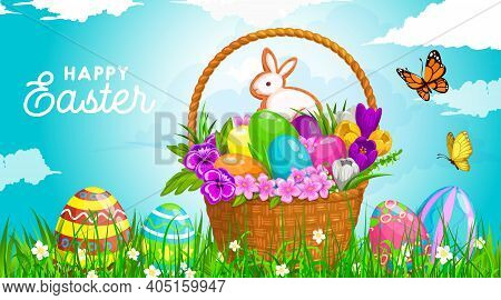 Easter Egg Hunt Basket Vector Design With Easter Eggs And Bunny Cookie, Spring Green Grass Blades An