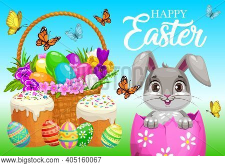 Happy Easter Vector Poster, Cute Bunny Sitting Inside Of Decorated Egg On Field With Basket, Cakes,