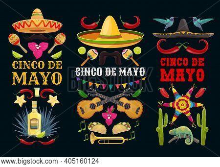 Cinco De Mayo Vector Icons Pinata, Colibri And Jalapeno Pepper With Mustaches And Sombrero, Guitar,