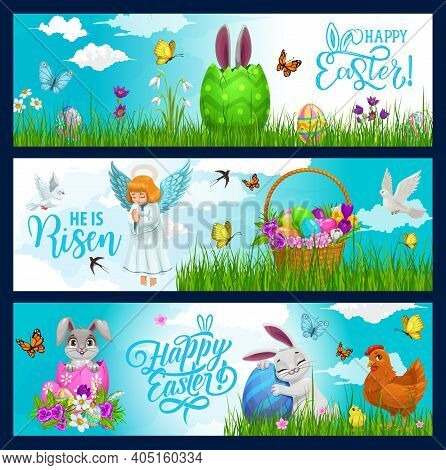 Easter Holiday Hunting Eggs, Bunny And Flowers In Wicker Basket Vector Banners. Happy Easter Greetin