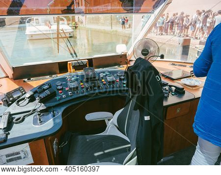 Strasbourg, France - June 18, 2018: Captain Place Of Batorama Tourist Boat With Passenger Waiting Ou