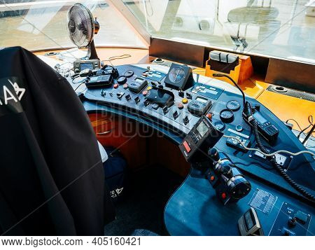 Strasbourg, France - June 18, 2018: Captain Place Of Batorama Tourist Boats Used On The Ill River Of