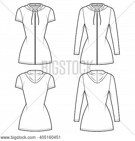 Hoodie Zip-up Dress Technical Fashion Illustration With Long, Short Sleeves, Mini Length, Fitted Bod