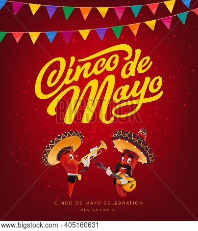 Cinco De Mayo Red Pepper Mariachi With Sombrero, Vector Mexican Holiday. Chilli Or Jalapeno Characte