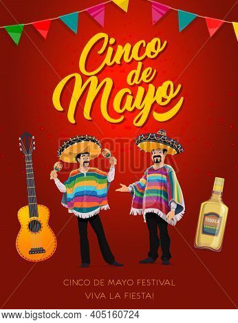 Cinco De Mayo Mariachi Characters Of Vector Mexican Holiday Fiesta Party. Mexico Musicians With Somb