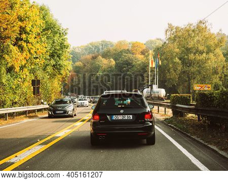 Germany - Oct 20, 2018: Busy Rural Highway Road In Germany With Multiple Cars, Volkswagen, Peugeot A