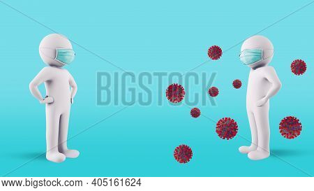 Contagion Protection Concept By Maintaining Social Distancing And Wearing Face Masks. 3d Illustratio