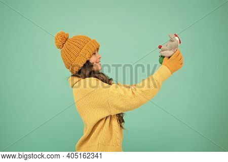 Happy Childhood. Rat Symbol Year. Plush Toy. Soft Toys Are Best. Winter Outfit Child Play Cute Small