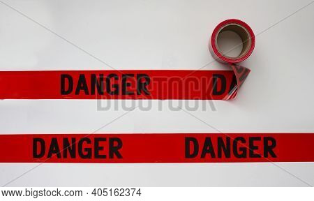 Danger Safety Barricade Tape, Indoor Or Outdoor Black On Red Background