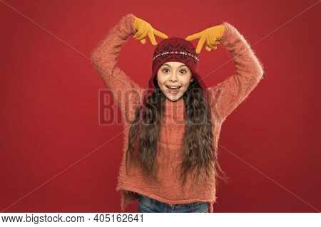 Beautiful Crazy. Crazy Child Show Horns On Head. Happy Girl With Crazy Look Red Background. Crazy Ho