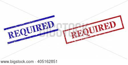 Grunge Required Rubber Stamps In Red And Blue Colors. Stamps Have Rubber Style. Vector Rubber Imitat