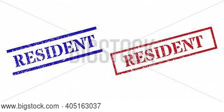 Grunge Resident Rubber Stamps In Red And Blue Colors. Stamps Have Rubber Surface. Vector Rubber Imit