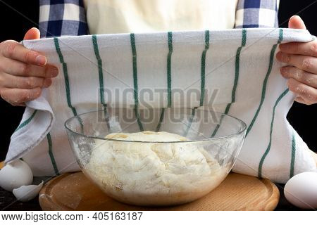 Yeast Dough Covered With A Tea Towel. Kneading, Making Bread Dough. Woman Baker Prepares Dough.