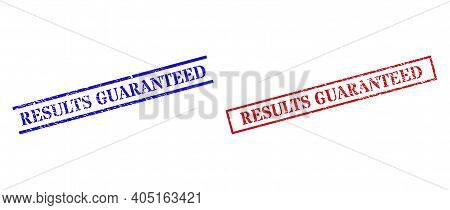 Grunge Results Guaranteed Rubber Stamps In Red And Blue Colors. Stamps Have Distress Style. Vector R