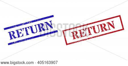 Grunge Return Rubber Stamps In Red And Blue Colors. Stamps Have Draft Surface. Vector Rubber Imitati