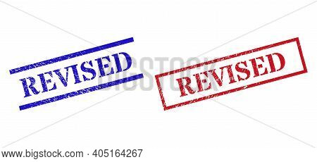Grunge Revised Stamp Seals In Red And Blue Colors. Seals Have Rubber Style. Vector Rubber Imitations