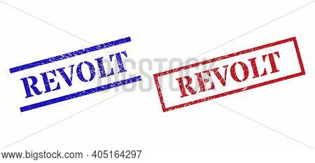 Grunge Revolt Rubber Stamps In Red And Blue Colors. Stamps Have Draft Texture. Vector Rubber Imitati