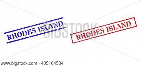 Grunge Rhodes Island Rubber Stamps In Red And Blue Colors. Stamps Have Rubber Style. Vector Rubber I