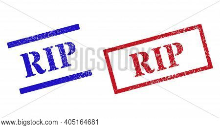 Grunge Rip Seal Stamps In Red And Blue Colors. Stamps Have Rubber Style. Vector Rubber Imitations Wi