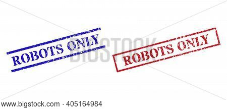 Grunge Robots Only Stamp Seals In Red And Blue Colors. Seals Have Distress Surface. Vector Rubber Im