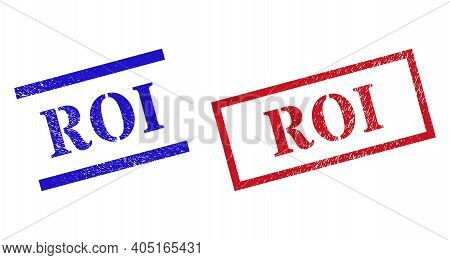 Grunge Roi Rubber Stamps In Red And Blue Colors. Stamps Have Distress Style. Vector Rubber Imitation