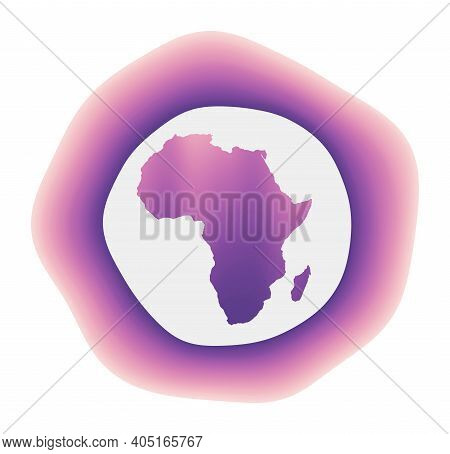 Africa Icon. Colorful Gradient Logo Of The Continent. Purple Red Africa Rounded Sign With Map For Yo