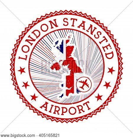 London Stansted Airport Stamp. Airport Logo Vector Illustration. London Aeroport With Country Flag.