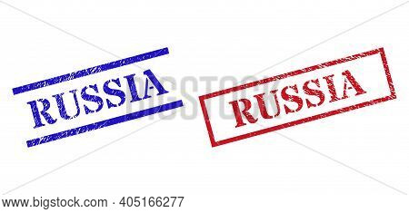 Grunge Russia Seal Stamps In Red And Blue Colors. Stamps Have Rubber Texture. Vector Rubber Imitatio