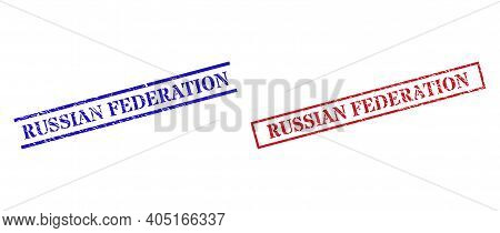 Grunge Russian Federation Rubber Stamps In Red And Blue Colors. Seals Have Rubber Style. Vector Rubb