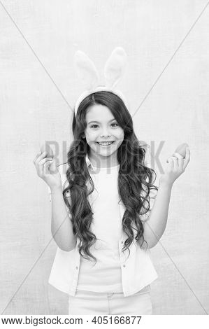 Spring Holiday. Girl Little Child Easter Bunny. Inspiration Concept. Have Fun. Holiday Attributes. E